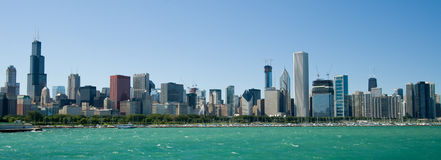 Chicago, Illinois skyline. Panoramic view of Chicago city waterfront skyline viewed over Lake Michigan, Illinois, U.S.A royalty free stock images