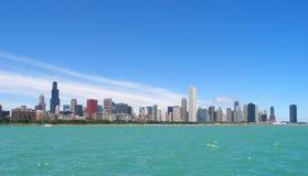 Chicago Illinois skyline. Over lake Michigan stock images