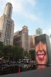 Chicago, Illinois: skyline and Crown Fountain by Jaume Plensa in Millennium Park Stock Photos