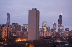 Chicago, Illinois Skyline at Dusk Stock Photo
