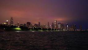 The Chicago, Illinois skyline at night stock video