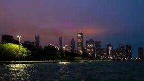 The Chicago, Illinois skyline at night stock footage