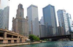 Chicago Illinois skyline. Sky, scrapers, tall, buildings, river Stock Photos