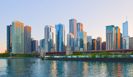 Chicago Illinois skyline. At sunset with reflections of modern skyscrapers Royalty Free Stock Images