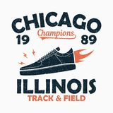 Chicago, Track and Field print for t-shirt with sneaker in fire. Graphic for design clothes. Vector illustration. Chicago, Illinois Track and Field athletics Stock Photo