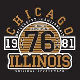 Chicago, Illinois typography for t-shirt. Original sportswear print. Athletic apparel typography. Graphic for design clothes. Vector illustration stock illustration