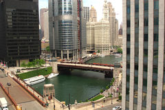 Chicago illinois U.S.A downtown skyscrapers. Chicago downtown skyscrapers, skyline with view of river. chicago, illinois usa. midwest city Royalty Free Stock Photo