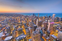 Chicago, Illinois USA aerial skyline after sunset stock photography