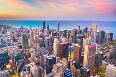 Chicago, Illinois USA aerial skyline after sunset royalty free stock image