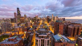 Chicago, Illinois, USA aerial skyline time lapse