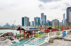 View of Chicago downtown from Navy Pier, which offers great city and Lake Michigan panorama. Chicago, Illinois, USA - April 12, 2012: View of Chicago downtown Stock Images