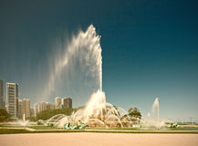 Chicago, Illinois, USA. Buckingham Fountain water stream in Grant Park. Desaturated instagram processing Royalty Free Stock Photos