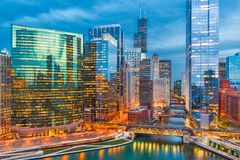 Chicago, Illinois, USA Cityscape. Over the river at twilight royalty free stock images