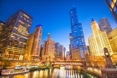 Chicago, Illinois, USA Cityscape. On the river at twilight stock photography