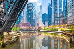 Chicago, Illinois, USA cityscape on the river. At twilight royalty free stock images