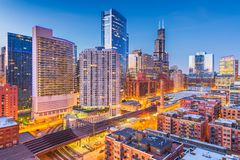 Chicago, Illinois, USA downtown cityscape at dusk stock photography