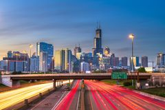 Chicago, Illinois, USA downtown skyline over highways stock photos