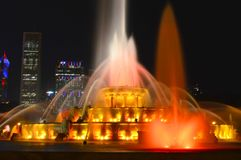 Chicago, Illinois - USA - July 2, 2016: Buckingham Fountain Colorful Lights Show royalty free stock photo