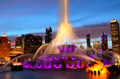 Chicago, Illinois - USA - July 2, 2016: Chicago At Sunset With Buckingham Fountain. Buckingham Fountain is a Chicago landmark in the center of Grant Park royalty free stock photos