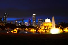 Chicago, Illinois - USA - July 2, 2016: Chicago skyline panorama with skyscrapers and Buckingham fountain in Grant Park stock image