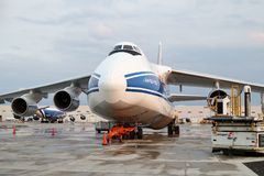Cargo plane at the airport in Chicago royalty free stock photo
