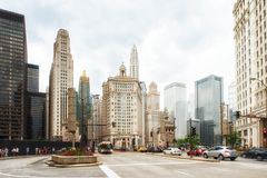 Busy traffic scene with a lot of cars in downtown Chicago Stock Photos