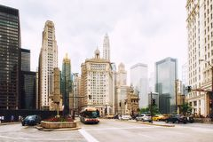 Busy traffic scene with a lot of cars in downtown Chicago Royalty Free Stock Photography