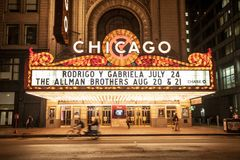 Chicago, Illinois / USA - June 28 2013: Chicago Theater at night Stock Photo