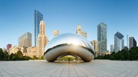 Panoramic image of the Cloud Gate or The Bean in the morning June 30 2013 in Millennium Park, royalty free stock photo
