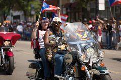 The Puerto Rican People`s Parade. Chicago, Illinois, USA - June 16, 2018: The Puerto Rican People`s Parade, Puerto rican bikers from the Latino Americanos royalty free stock photo