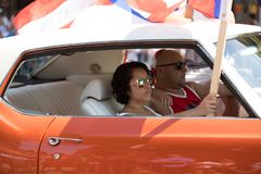 The Puerto Rican People`s Parade. Chicago, Illinois, USA - June 16, 2018: The Puerto Rican People`s Parade, Puerton rican people riding on cars celebrating with royalty free stock photo