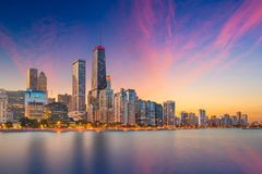Chicago, Illinois, USA Lake Skyline. Chicago, Illinois, USA downtown skyline from Lake Michigan at dusk royalty free stock photos