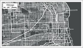 Chicago Illinois USA Map in Retro Style. Vector Illustration. Outline Map stock illustration
