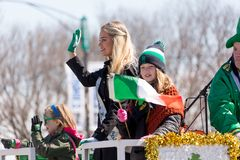 St. Patrick`s Day Parade Chicago 2018. Chicago, Illinois, USA - March 17, 2018, The St. Patrick`s Day Parade is a cultural and religious celebration from Ireland royalty free stock photos
