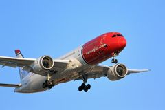Norwegian Airlines passenger aircraft on final approach stock photography