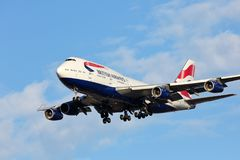 Jumbo Jet arrives in Chicago from Europe stock photo