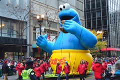 Chicago, Illinois - USA - November 24, 2016: Cookie Monster  Balloon in McDonald`s Thanksgiving Street Parade. Chicago, Illinois - USA - November 24, 2016 Royalty Free Stock Image