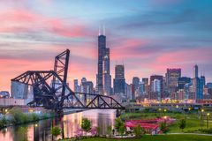 Chicago, Illinois, USA Park and Skyline. Chicago, Illinois, USA park and downtown skyline at twilight stock photos