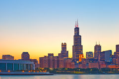 Chicago Illinois, USA Skyline of downtown. Modern illuminated buildings at sunset royalty free stock images