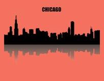 Chicago illustration - - cityview Landskap skugga, röd bakgrund, representantskyskrapor, torn, lopp vektor illustrationer