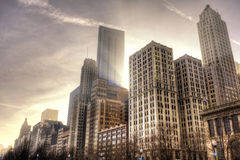 Chicago im Stadtzentrum gelegen in der Nachmittagsleuchte Lizenzfreies Stockfoto