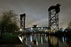 Chicago Industrial Bridge at Night Stock Photography
