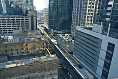 Chicago Infrastructure. Chicago Transit - Train in Downtown Chicago. Cities Photo Collection Stock Images