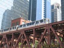 Chicago järnvägbro och drev Royaltyfria Bilder