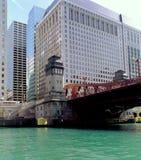 Chicago kanałowy dźwigu mostu Zdjęcia Royalty Free