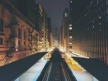 Chicago 'L' drevspår Arkivfoton