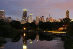 Chicago lagun på skymning Royaltyfri Fotografi