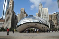 Cloud Gate is a public sculpture at Millennium Park in Chicago stock photography