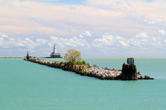 Chicago lake michigan lighthouse Royalty Free Stock Images