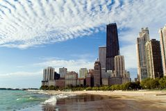 Chicago Lakefront Skyline. With Dramatic Clouds Stock Image